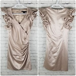 FRENCH CONNECTION   satin ruffle ruched dress